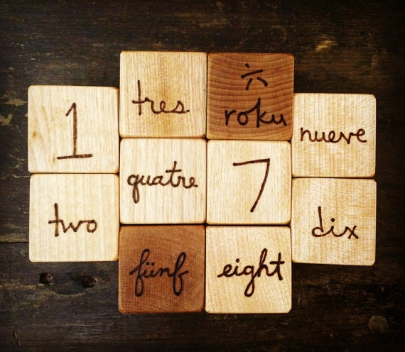 Bilingual Number Blocks Set of 10 Wooden Blocks Baby Shower Toddler Toy First Christmas Gifts Under 50 Spanish French German Japanese Game