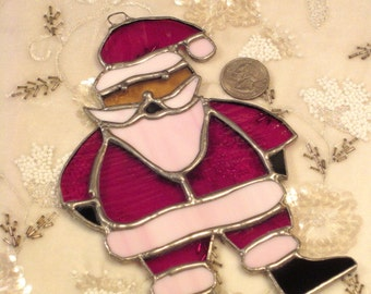 Vintage Stained Glass Santa Sun Catcher