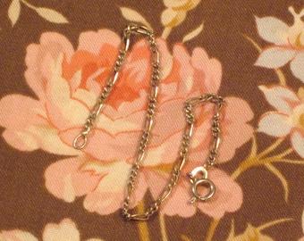 Vintage Sterling Silver Figaro Chain Bracelet