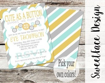 Cute As a Button baby shower invitation printable. Baby shower invitation for boy, girl, or gender neutral.