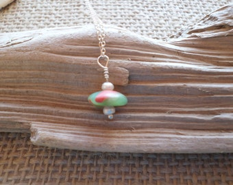 Rare Red & Green sea glass necklace