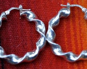 Vintage Curly Twist Hoop Sterling Silver Earrings