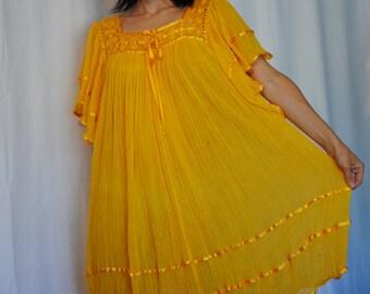 Cotton gauze Mexican gown dress flutter bell sleeves satin ribbon trim crochet collar