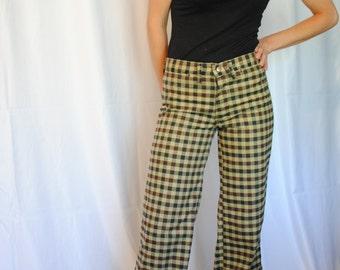 70s plaid bellbottom pants preppy vintage