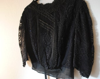 1800s edwardian lace and beaded vintage antique black blouse