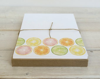 Citrus Notecards, Citrus Stationery, Colorful Watercolor Stationary, Flat Cards, Citrus Cards, Tropical Cards, Blank Notes, Set of 12