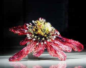 Passiflora Passion flower Red Flower brooch Flower jewelry Wire sculpture Wearable Art jewelry Large brooch Unique brooch Ooak Gift for her