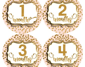 FREE GIFT, Baby Month Stickers, Pink, Gold, Baby Girl, Monthly Baby Stickers Girl, Pink Gold Month Stickers, Baby Shower Gift, New Baby Gift
