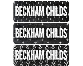 FAST SHIPPING! Name Labels, School Name Labels, Daycare Labels, Waterproof, Tribal Arrows, Chalkboard Black White, Boy, Girl, Gender Neutral