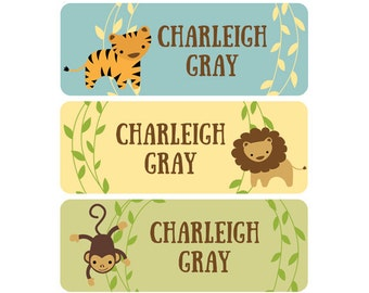 Name Labels, Baby Bottle Labels, Daycare Labels, Waterproof, School Labels, Gender Neutral, Jungle Animals, Tiger, Lion, Monkey Yellow Green
