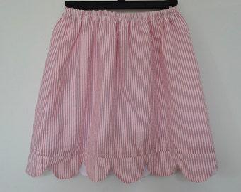 Scalloped Seersucker Skirt