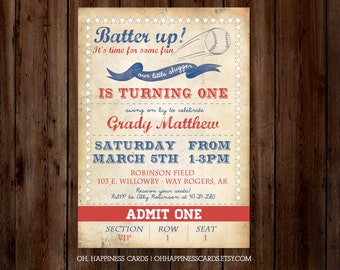 Vintage Baseball FIRST Birthday Invitation // Digital or Printed (FREE SHIPPING)