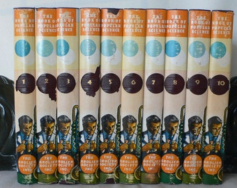 vintage books, 10 volumes,The Book of Popular Science, dust jackets, 1952, free shipping,  from Diz Has Neat Stuff