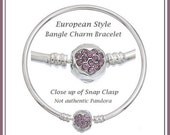 BANGLE European Charm Bracelet ~ HEART Purple Rhinestone Clasp ~ Silver Tone over Copper ~ 22cm or 8.5 Inch - BHR-P