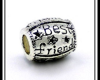 BeST FRiEND ~ Stars ~ Antique Silver Charm Bead ~ fits European Bracelets ~ MS-1173