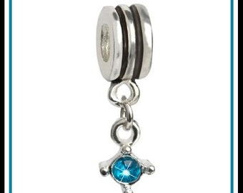 Beautiful TURQUOISE - Crystal - Pendant - DECEMBER Birthstone - Dangle Charm Bead - fits European Bracelets - PD-1508