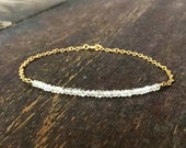White Topaz Bracelet - Thin Bracelet - Gold Chain - Gemstone Jewelry - Crystal - Stack - Minimal - Layer