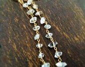 Herkimer Diamond Earrings - Gemstone Jewelry - Gold Jewellery - Beaded - Fashion - Chic - Luxe - Shoulder Duster - Long