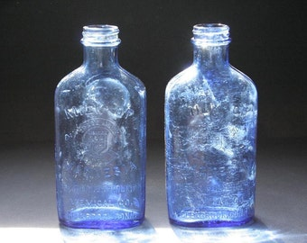 Vintage blue glass bottles, Phillips, vintage medicine bottles, Hazel Atlas
