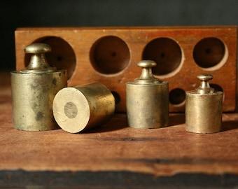 Brass scale weights, English gram weights