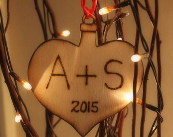 Our First Christmas Ornament  Heart Rustic Wedding Decor