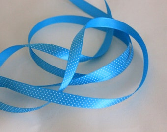"""3/8"""" Swiss Dotted Satin Ribbon - Turquoise with White Dots - 5 yards"""