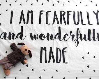 I Am Fearfully and Wonderfully Made Baby Crib Sheet, Scripture, Bible verse, Life verse, Nursery Modern Decor Psalm 139