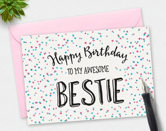 Printable Card, Birthday card, Bestie birthday card, polkadot card, greeting card, hand drawn card, printable thankyou, BFF Birthday