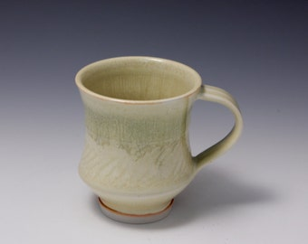 Wheel-thrown Porcelain Mug with Yellow and Green Glazes by Hsinchuen Lin 林新春