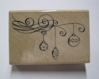 Wood Mounted Rubber Stamp - Classic Christmas Ornaments - Stampendous