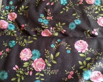 Rambling Rose by Sandy Gervais 1 Yard of brown with pink roses and blue/ teal flowers