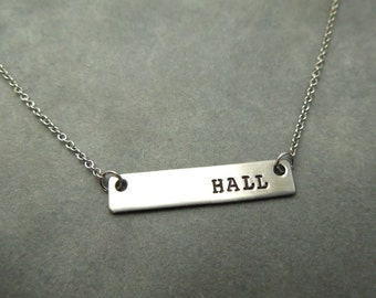 personalized bar necklace, hand stamped stainless steel,