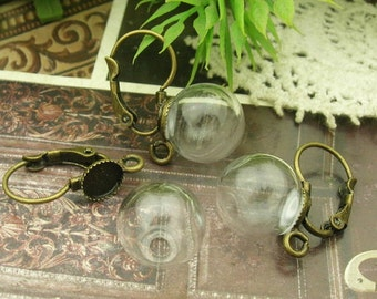6sets 12mm Medium Clear Glass Globe Bottle with Antique Brass  (6mm) Earwires Hook .Nickel Free