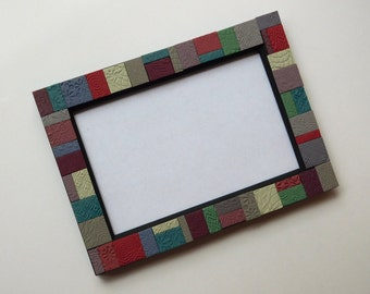 Mosaic Tile Picture Frame, polymer clay tiles, 4 x 6 frame