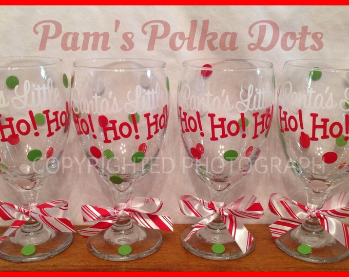 Personalized SANTA'S LITTLE Ho! Ho! Ho! Funny CHRISTMAS Wine Goblet with Peppermint Candy Polka Dots Great Christmas Gift
