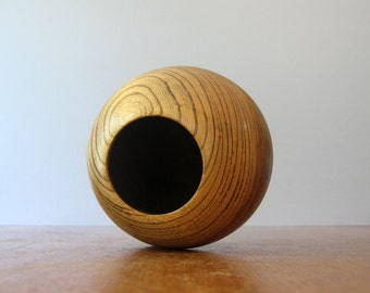 Mod Vintage Sowe Konst Style Monkey Pod Nut Bowl - Orb / Sphere