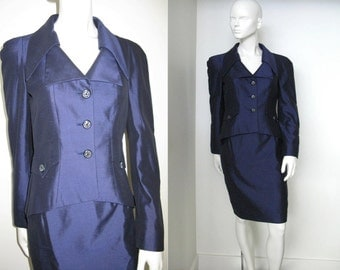 Gorgeous Vintage 1980s Christian Lacroix Raw Silk Blend Skirt Suit