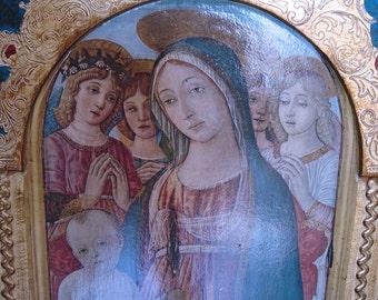 "Large Vintage Florentine Triptych 21 1/4"" Tall"