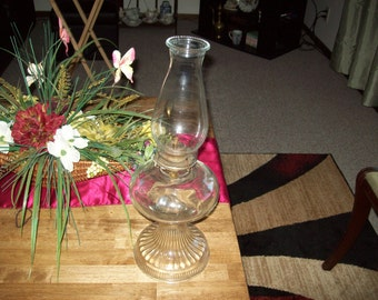 Oil Lamp- Tall and Large Clear Glass Pedestal vintage