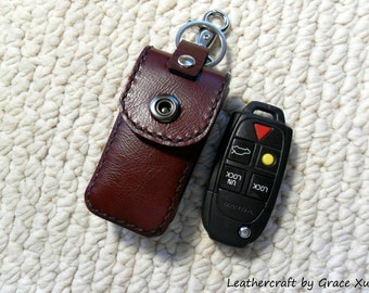 100% hand stitched handmade mahogany cowhide leather car remote key fob holder/ case with swivel snap hook and key ring