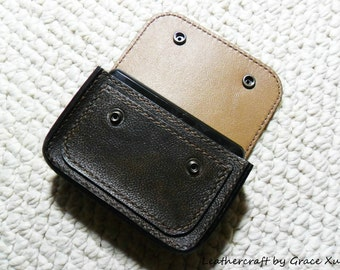 100% hand stitched handmade dark brown cowhide leather hard drive / camera / cell phone / device  case / pouch