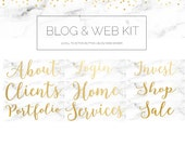 9 Piece Blog Web Makeover Kit - Gold, Marble, Header, Call To Action Buttons