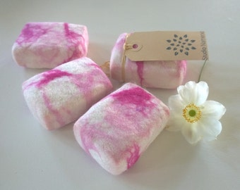 Blossom felted soap - set of 2 - lovely scented exfoliator soap washcloth