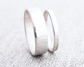 Wind + Water Wedding Bands. Wedding Band Set. Wedding Ring. Wedding Band His and Hers. Hammered Silver Ring. Matching Promise Rings. Unisex.