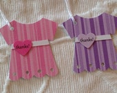 Set of 12 Pink or Purple Baby Dress Thanks! Tags  - Baby Shower - Birthday Party - Favor Gift Tags
