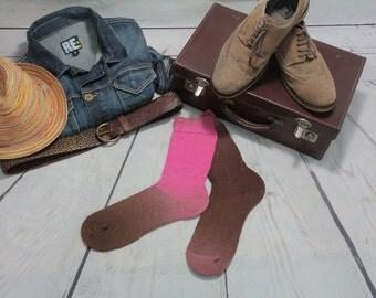 KNITTED Wool socks - Hand Made Pink and brown MERINO  winter socks Hipster MENS socks. Large size. Dress socks stockings for men