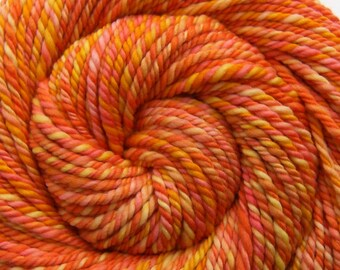 Handspun Yarn - ATOMIC TANGERINE - Handpainted Superfine 18.8μ Merino wool, 3 ply Super Bulky weight, 86 yards