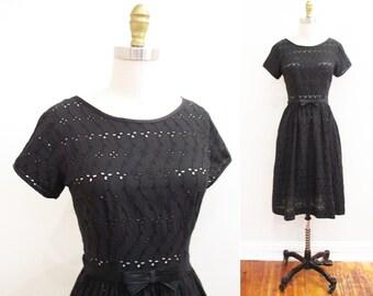 Vintage 1950s Dress | Black Cotton Eyelet Bow Belt 1950s Party Dress | size small