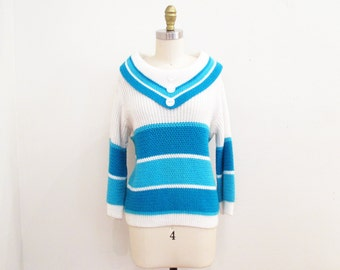 Vintage 1960s Sweater | Blue and White Mod 1950s 60s Sailor Sweater | small - medium | 6SW002