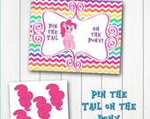 LITTLE PONY Pinky Printable Pin-the-Tail Game - Instant Download - DIY Party game poster Pie